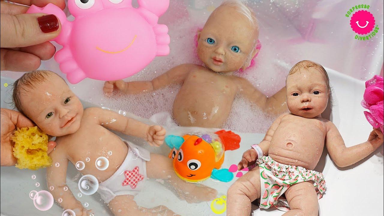 Rutina de baño de mis muñecas Reborn de Silicona Anuk, Lily y Anisa