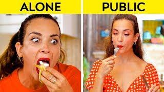 GIRLS IN PUBLIC VS GIRLS ALONE || How You Do Things Alone VS In Public! by 123 GO!