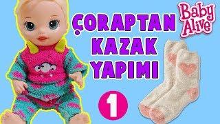 YENİ Baby Alive Blonde Kıyafet Yapımı - Rengarenk Çorap Kazak | Kendin Yap - DIY | Oyuncak Butiğim