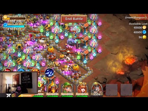 JT's Free 2 Play INSANE Dungeon 5-9 AND 5-10 THREE Flamed Castle Clash