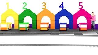 Lehrreicher Zeichentrickfilm - Die 4 kleinen Autos - Die Zahl 5