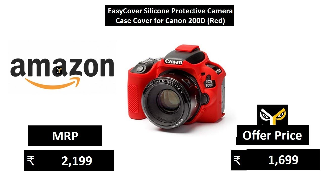 EasyCover Silicone Protective Camera Case Cover for Canon 200D (Red) -  YouTube