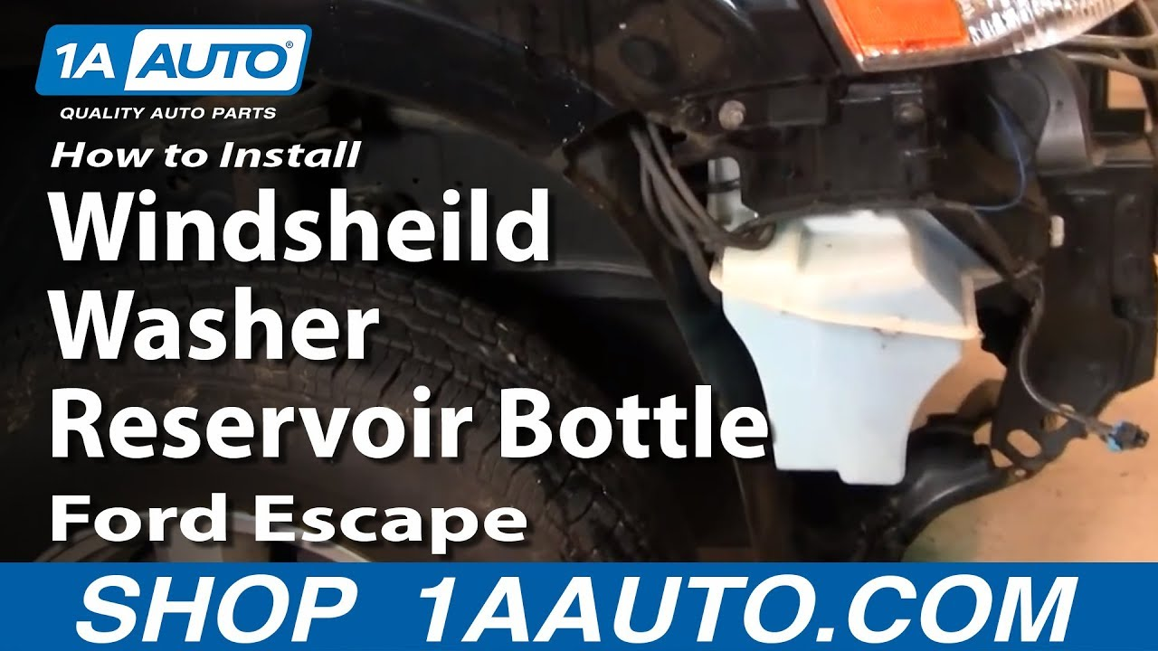 how to install replace windsheild washer reservoir bottle ford escape 01 07 1aauto com [ 1280 x 720 Pixel ]