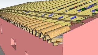 Modélisation trois dimensions toiture couverture configuration en L