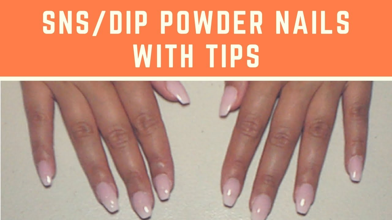 SNS / Dip Powder Nails with Tips | At Home Nails | jiannajay - YouTube