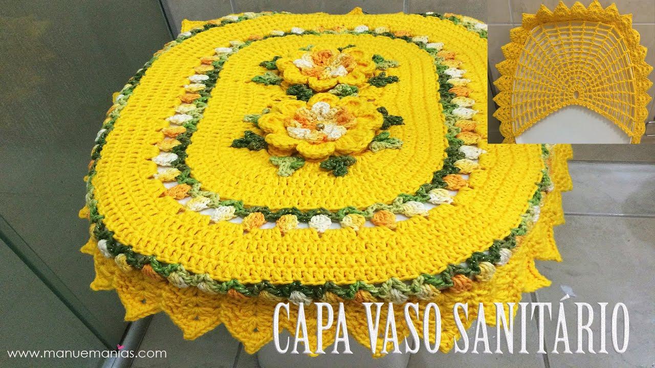 Crochê para Banheiro JOGO DE BANHEIRO PRIMAVERA Capa Vaso  #BCA20F 1920x1080 Banheiro Com Vaso Sanitario Azul