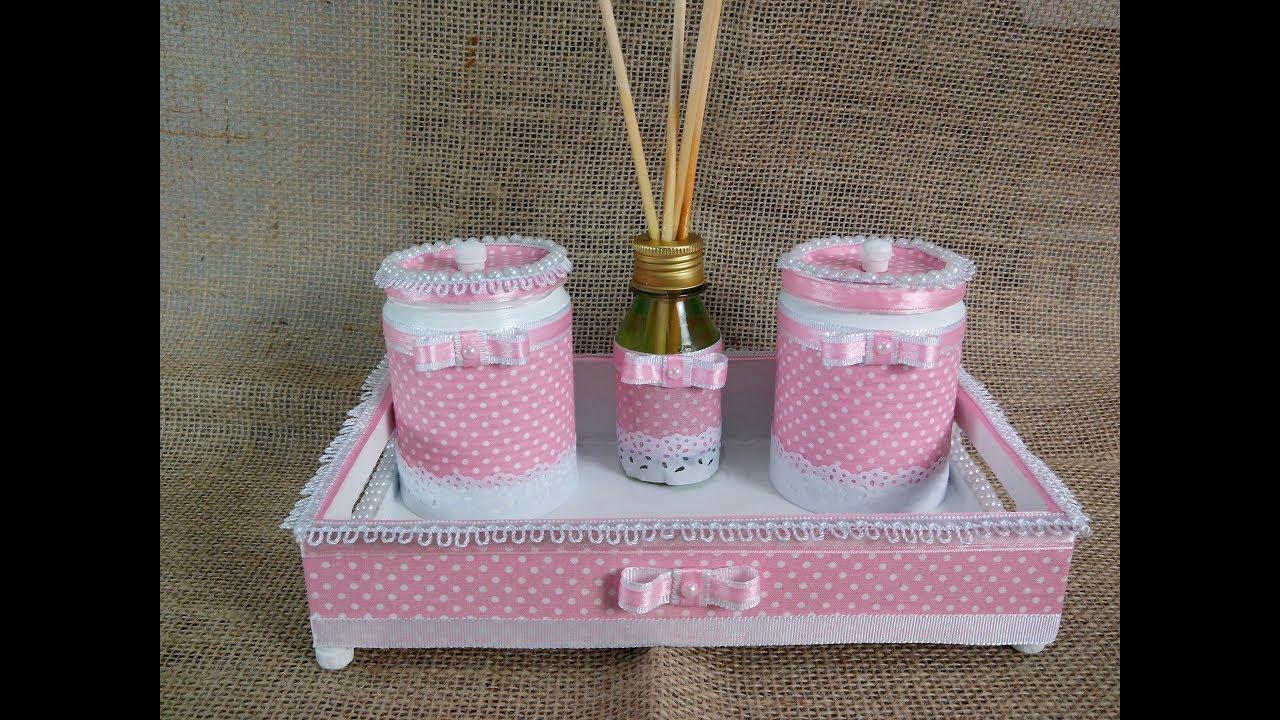 Latas decoradas com tecido Kit Higiene Doovi -> Como Decorar Kit Higiene Bebe Com Tecido