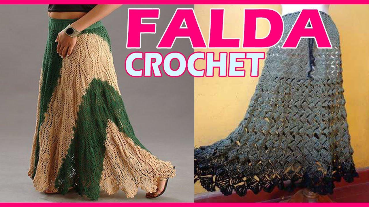 009f4ad49e Faldas Dama Tejidas a Crochet - YouTube