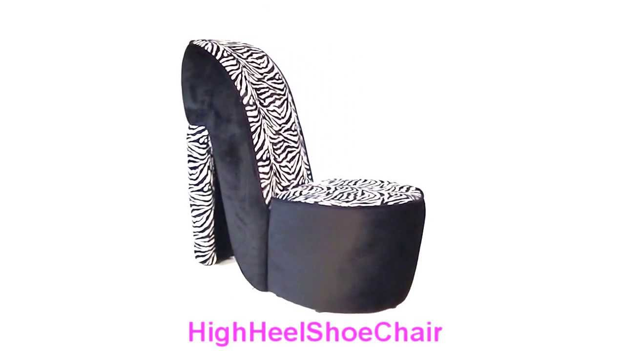 Child Size Black Zebra High Heel Shoe Chair Youtube