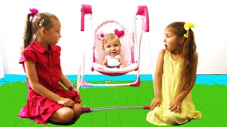 Funny girls pretend play with baby dolls