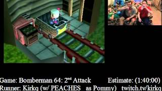 Bomberman 64: 2nd Attack SPEED RUN (1:22:49) - by KirkQ w/PEACHES as Pommy - SGDQ 2012