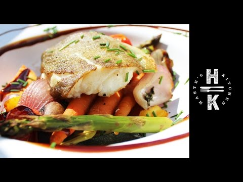 How To Cook Pan Seared Cod Fillet With Roasted Mediterranean Vegetables