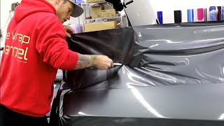 UP CLOSE VIDEO (POV)! DODGE 392 CHALLENGER Vinyl Wrap. HOW TO VINYL WRAP REAR QUARTER PANEL