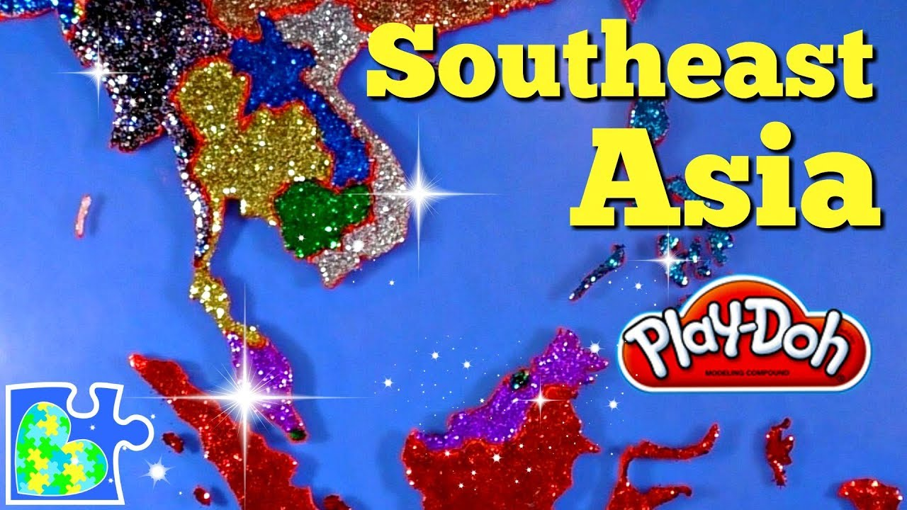 The Map Of Southeast Asia.Southeast Asia Map For Kids Super Fun Educational Play Doh Puzzle