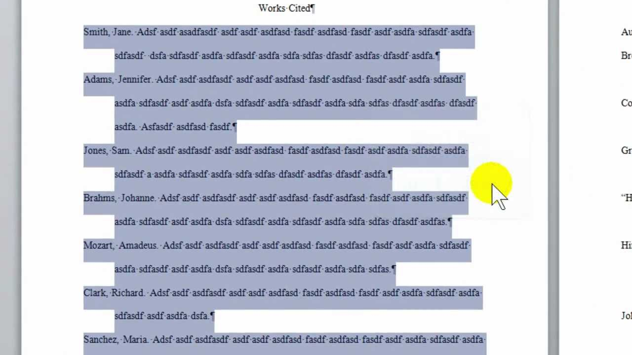 Formatting a Works Cited list for MLA style in Word 2010 - YouTube