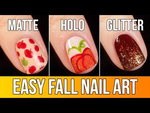 3 Easy FALL Nail Art Designs Tutorial (Matte, Holo, and Glitter!) || KELLI MARISSA thumbnail