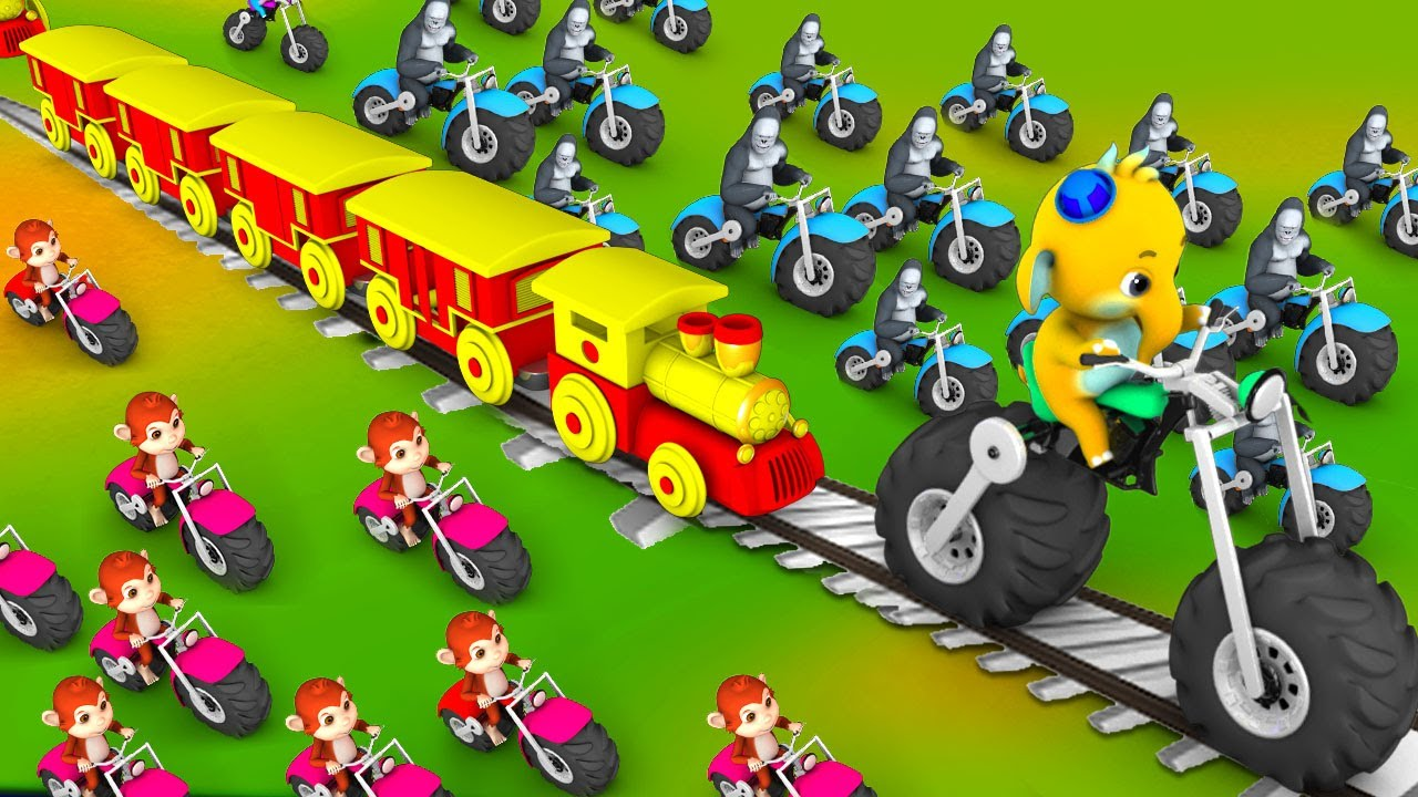 Elephant and Monkey Train Toy Monster Bike Race in Forest | Funny Animals 3D Videos | Cute Animals
