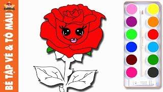 Bé tập vẽ Hoa Hồng và Tô Màu Hoa Hồng | Bé Tập Vẽ Bông Hoa