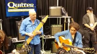 Steve Adelson (playing Chapman stick), Howard Alden and Jay Roberts at NAMM 2015