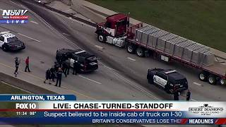 FNN: Big Rig Crashes Into MULTIPLE Cars During POLICE CHASE, Ends in FIERY CRASH and Police Standoff