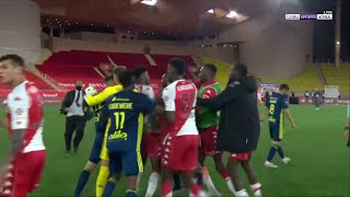 Explosive brawl at the end of Monaco vs Lyon
