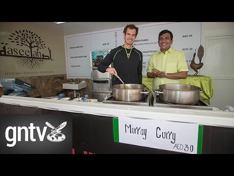 Tennis player Andy Murray joins Indian celebrity chef Sanjeev Kapoor in a cooking session in Dubai