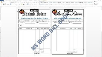 How To Make Bill / cash Book On MS word Hindi