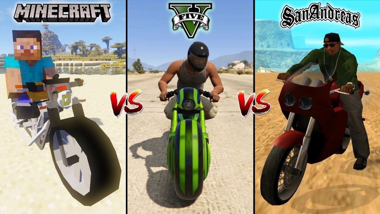 Download MINECRAFT MOTO BIKE VS GTA 5 MOTO BIKE VS GTA SAN ANDREAS MOTO BIKE - WHICH IS BEST?