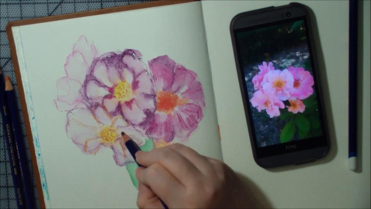 Tutorial Akvarelove Pastelky Ruze Youtube