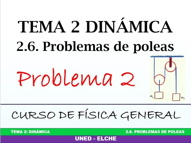 Curso de Física. Tema 2: Dinámica. 2.6 Problemas de poleas. Problema 2