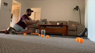 Guy Lands a Ping Pong Trick-Shot Bouncing off 2 Objects