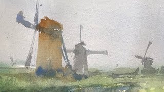 """Advancing with Watercolor: Variations on a theme """"Windmils"""""""