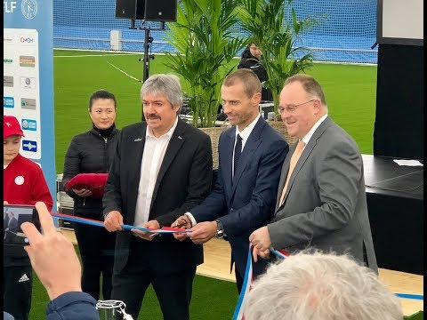 Football Air Dome in Luxembourg officially inaugurated by UEFA president Aleksander Čeferin.