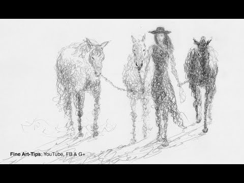 how-to-draw-doodle-a-woman-with-horses---narrated