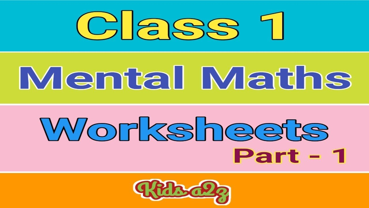 Mental Maths for class 1 Kids with Worksheets (Part 1) - YouTube [ 720 x 1280 Pixel ]