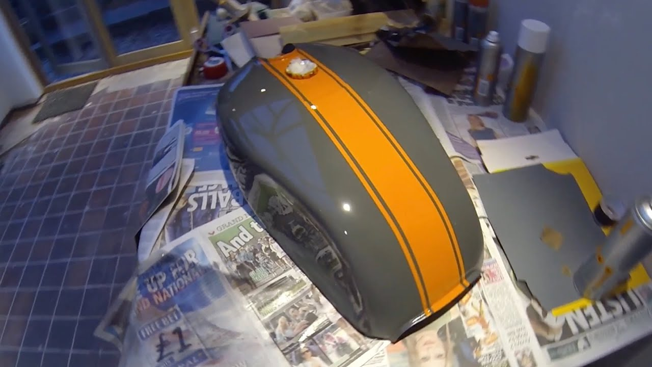 cafe racer build part 2, fuel tank painting 78 suzuki gs550 - youtube
