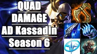 How to CARRY with QUAD DAMAGE AD Kassadin? (Season 6) - League of Legends Full Game Commentary