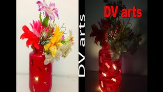 Diy diwali decoration ideas-flower decoration with light for diwali