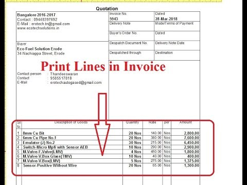 Tally TDL for background Lines Print between item in Sales Invoice