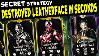 MKX Mobile. Pretty Lady Leatherface HARD Challenge. SECRET BOSS TACTICS!