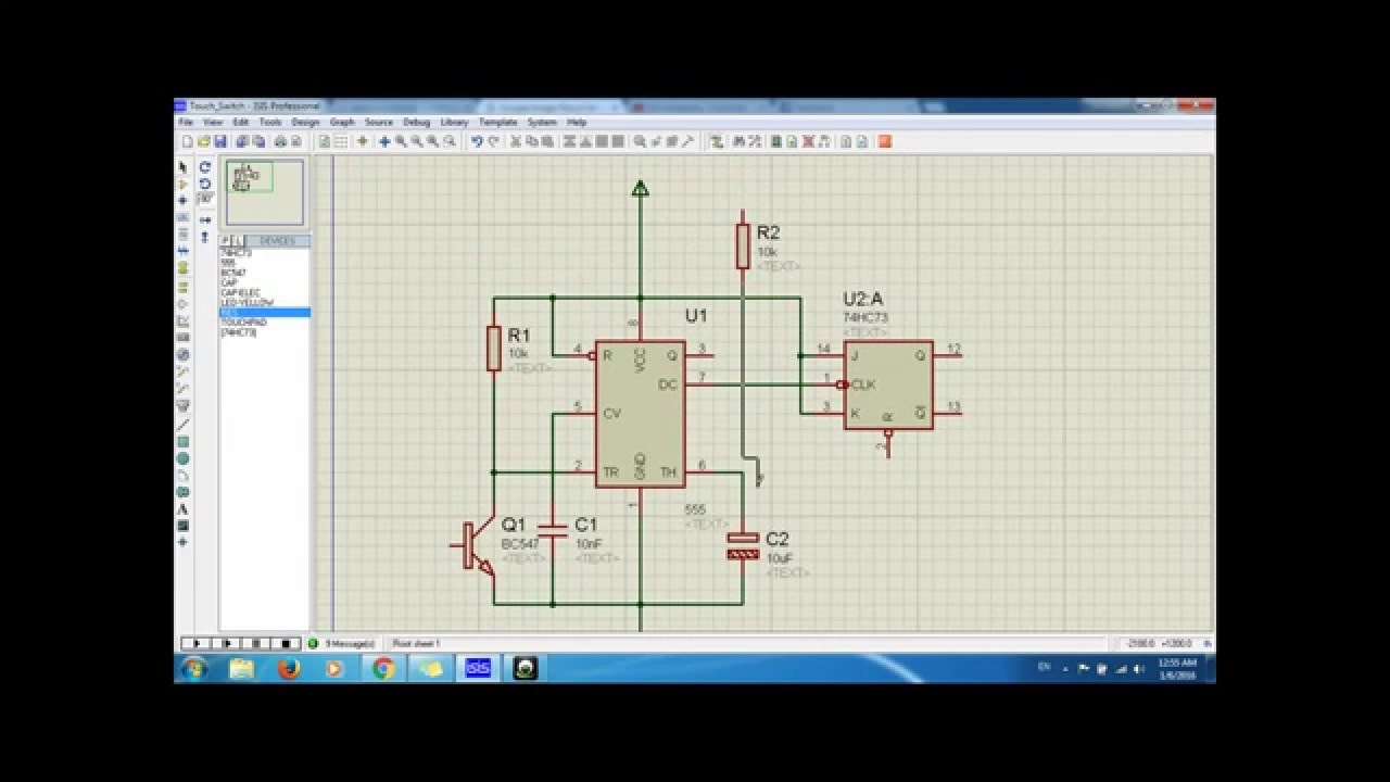 Engineering Electronic Touch Switch Using NE555 & 74HC73