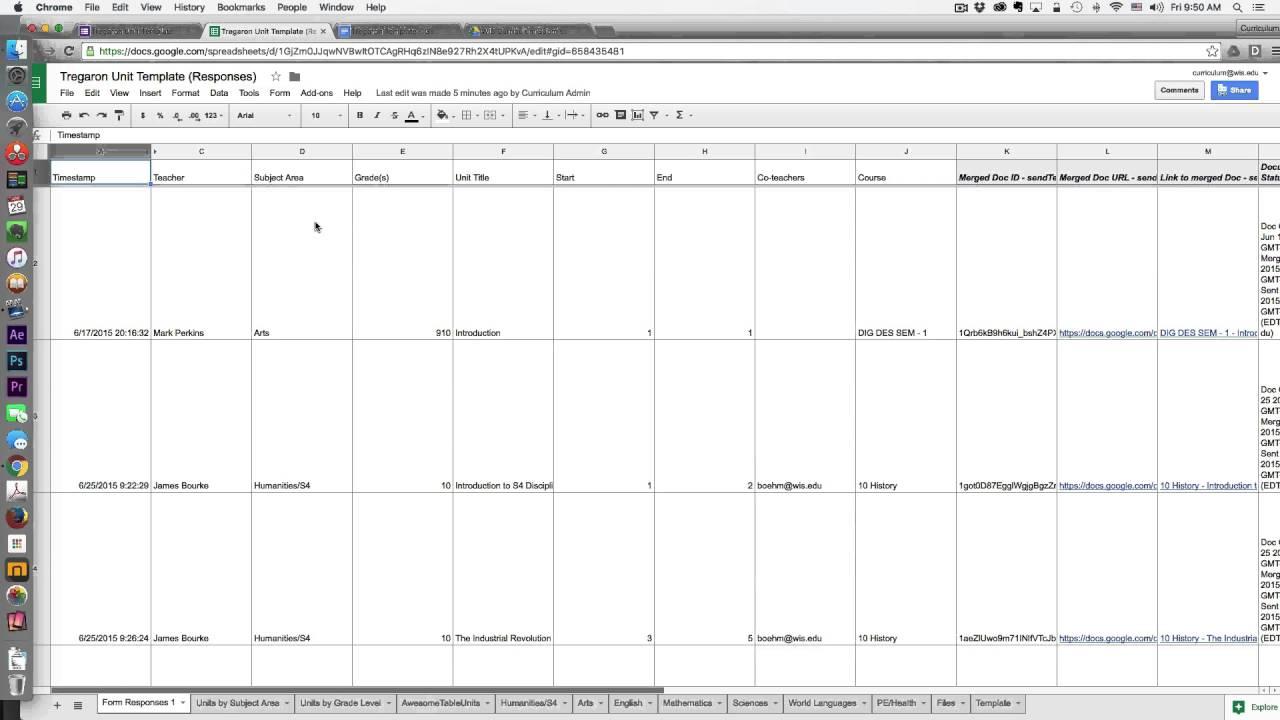 Curriculum Mapping : Step 3 distributing templates via Autocrat