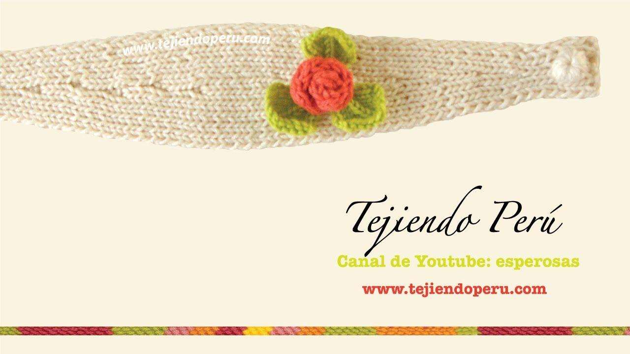 Vincha o diadema con flor tejida en dos agujas - YouTube