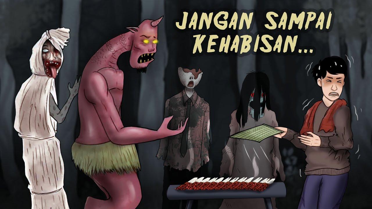 Jual Sate Gagak di Kuburan, Yang Beli Setan Semua #HORORMISTERI Kartun hantu, Animasi Horror