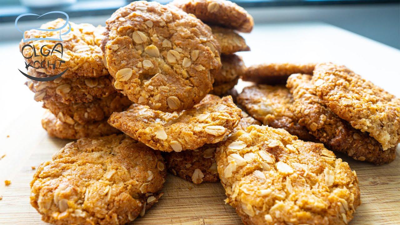 Haferflocken Kekse mit Kokos Flocken und Honig   Einfach und Schnell   Vegetarisch