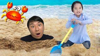 수지의 바닷가 모래놀이 장난감 숨바꼭질 놀이 Suji and Papa on the Beach! Playing with Sand and other Kids Toys
