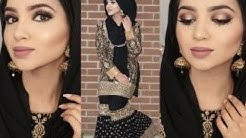 EID BLACK AND GOLD MAKEUP TUTORIAL + OUTFIT ft Reeshma London