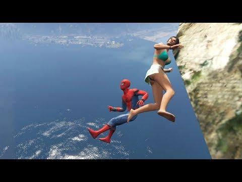 download GTA 5 Water Ragdolls | SPIDERMAN Jumps/Fails #15 (Euphoria physics | Funny Moments)