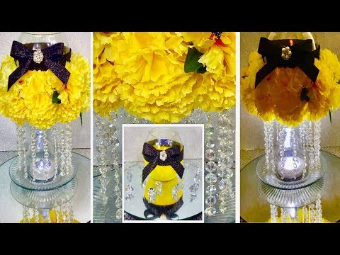 How To Make A Glamorous Yellow Carnations Centerpiece / DIY