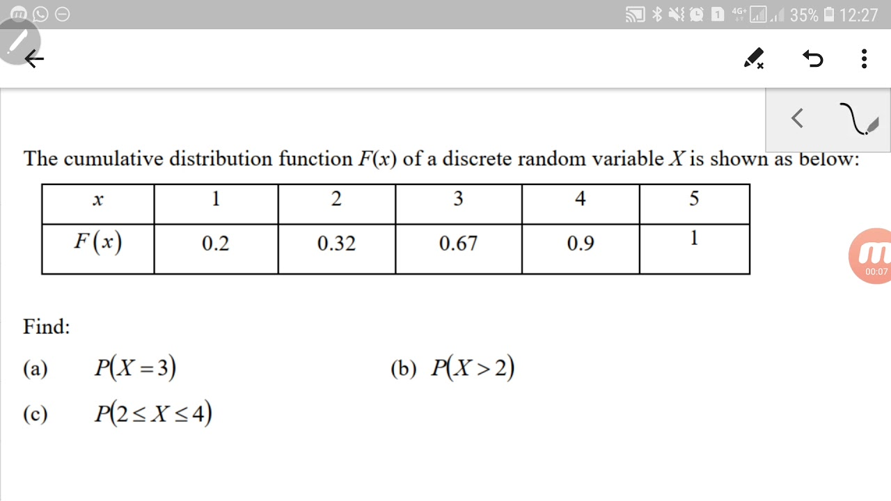 Download Discrete Random Variable : How to find probability from a CDF.